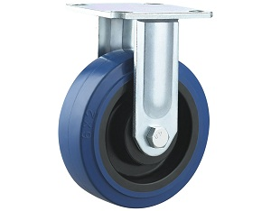 Heavy Duty Blue Elastic Rubber Caster Rigid